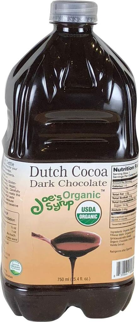Bottle of Joe's Organic Dutch Chocolate Sauce Half Gallon