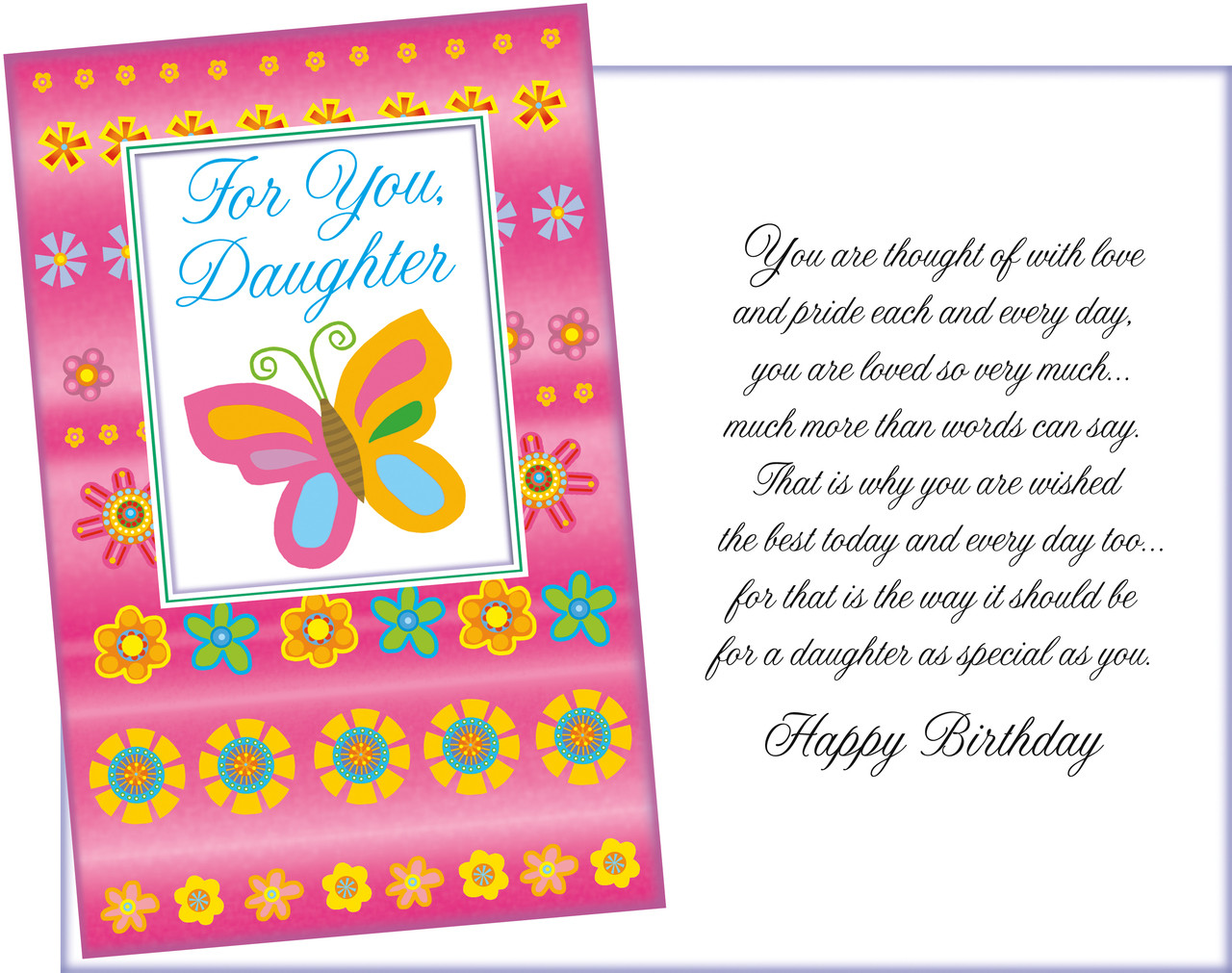 95198 Six Daughter Birthday Greeting Cards With Envelopes