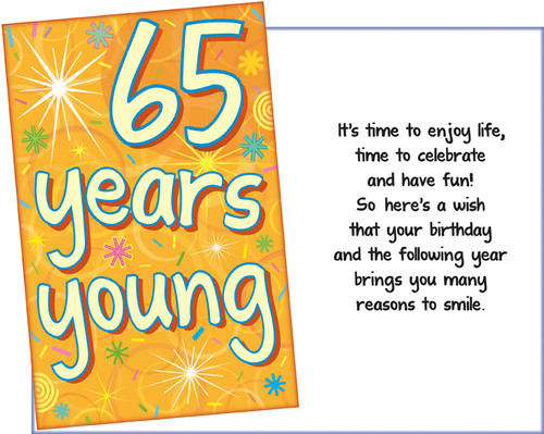 89718 Six Age 65 Birthday Greeting Cards With Envelopes