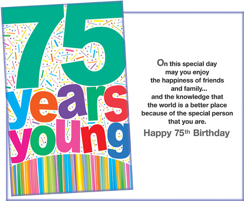 87243 Six Age 75 Birthday Greeting Cards With Envelopes