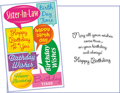 11375 Six Birthday Sister In Law Cards With Envelopes