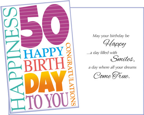 89006 Six Age 50 Birthday Greeting Cards With Envelopes