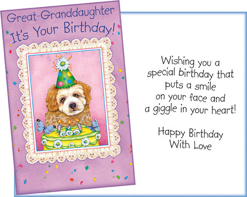 89153 Six Birthday Great Granddaughter Greeting Cards With Envelopes