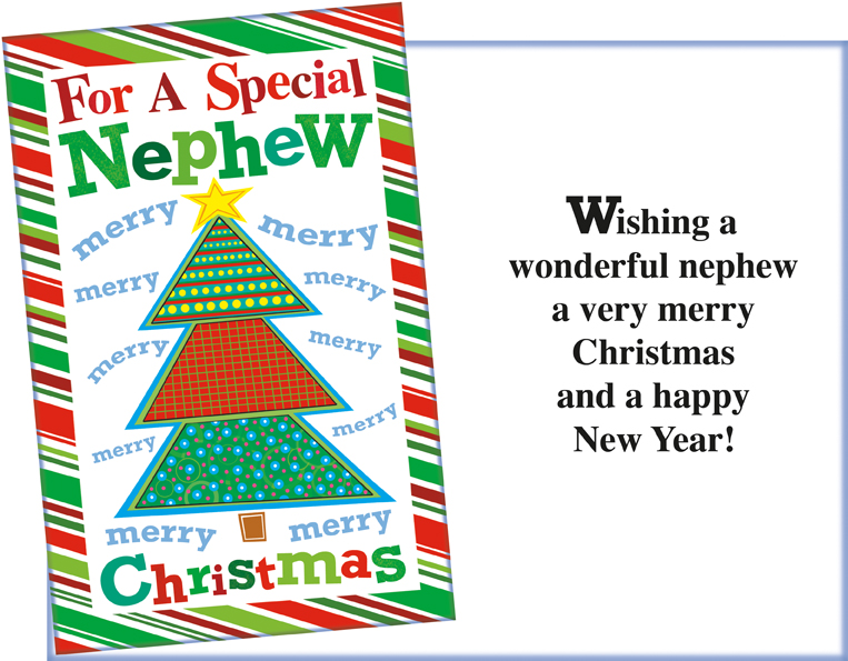 Merry Christmas Nephew.61160 Six Christmas Nephew Greeting Cards With Envelopes