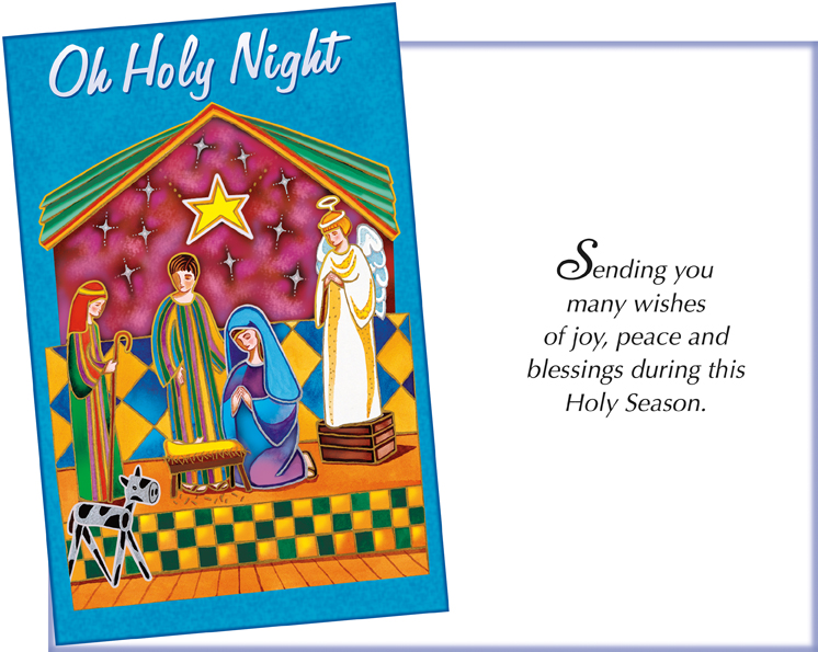 61069 Six Religious Christmas Cards With Six Envelopes