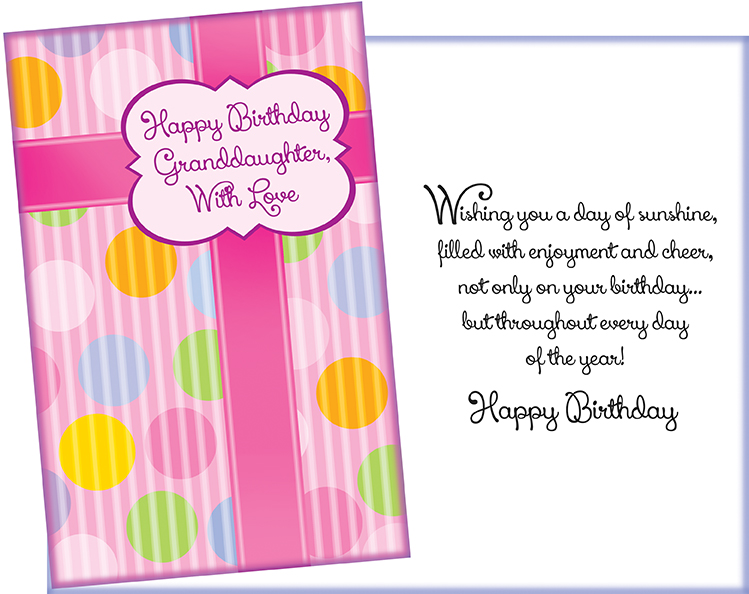 Wholesale Birthday Granddaughter Greeting Card
