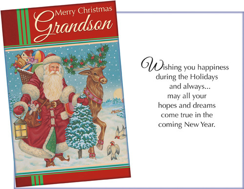 61188 six christmas grandson greeting cards and envelopes