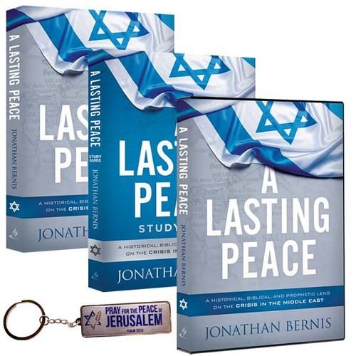 A Lasting Peace Book, Study Guide, DVD, and Israel Keychain (2261)