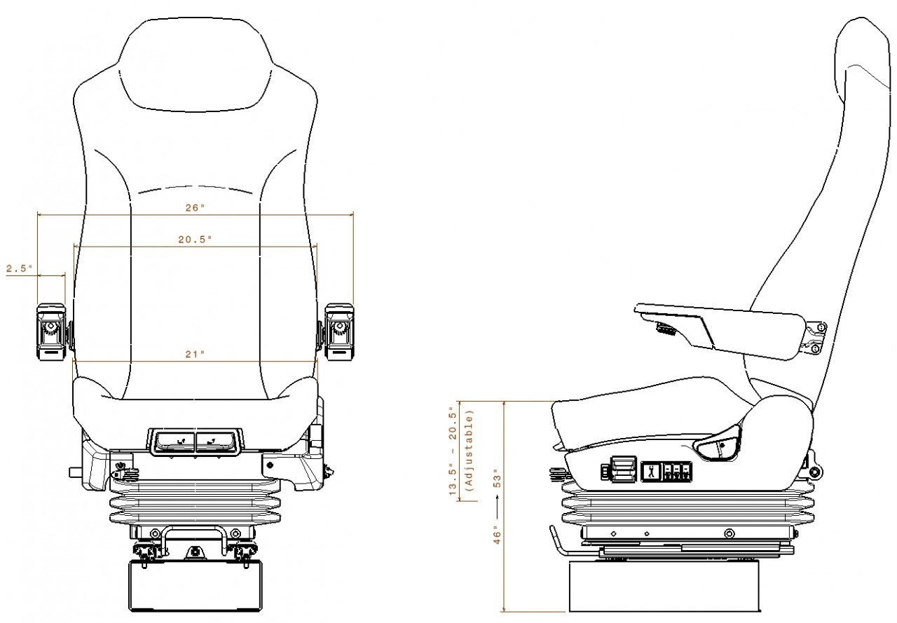 Prime Seating 600l Volvo Wx64 Wiring Diagram Truck Seat Dimensions