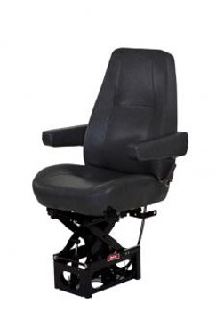 T915 with manual lumbar, dual arms in Black Vinyl.  Drape not shown but included with this seat.