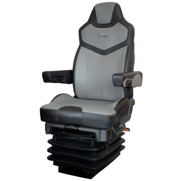 Seats Inc Pinnacle Truck Seat - Black Dura Leather and Gray Dura Leather