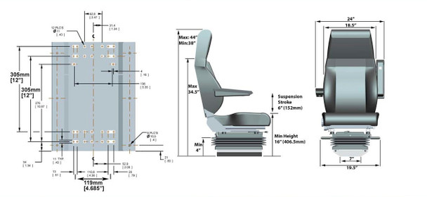 Knoedler Harrier Truck Seat Dimensions