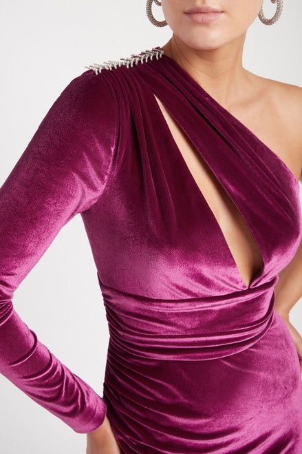 Aubrey One Sleeve Gown Grape