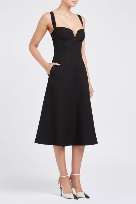 Calla V-Wire Midi Dress Black