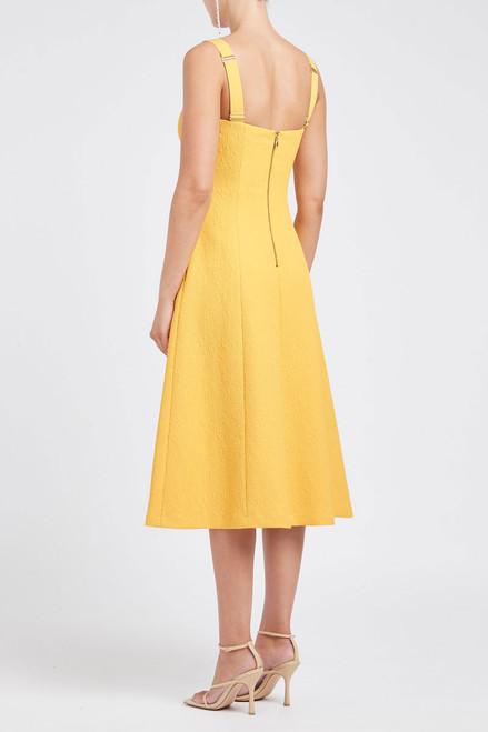 Calla V-Wire Midi Dress Yellow