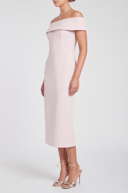 Amore Off Shoulder Midi Dress Pink