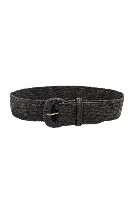 Raffia Belt in Black