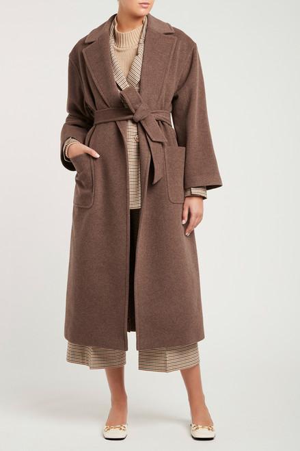Fria Wrap Coat Brown