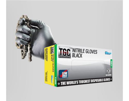 TGC Black Nitrile Disposable Gloves - Extra Large