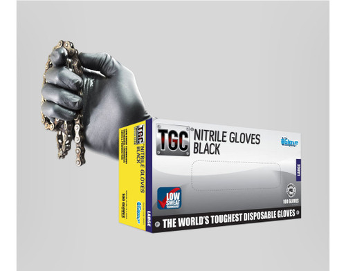 TGC Black Nitrile Disposable Gloves - Large
