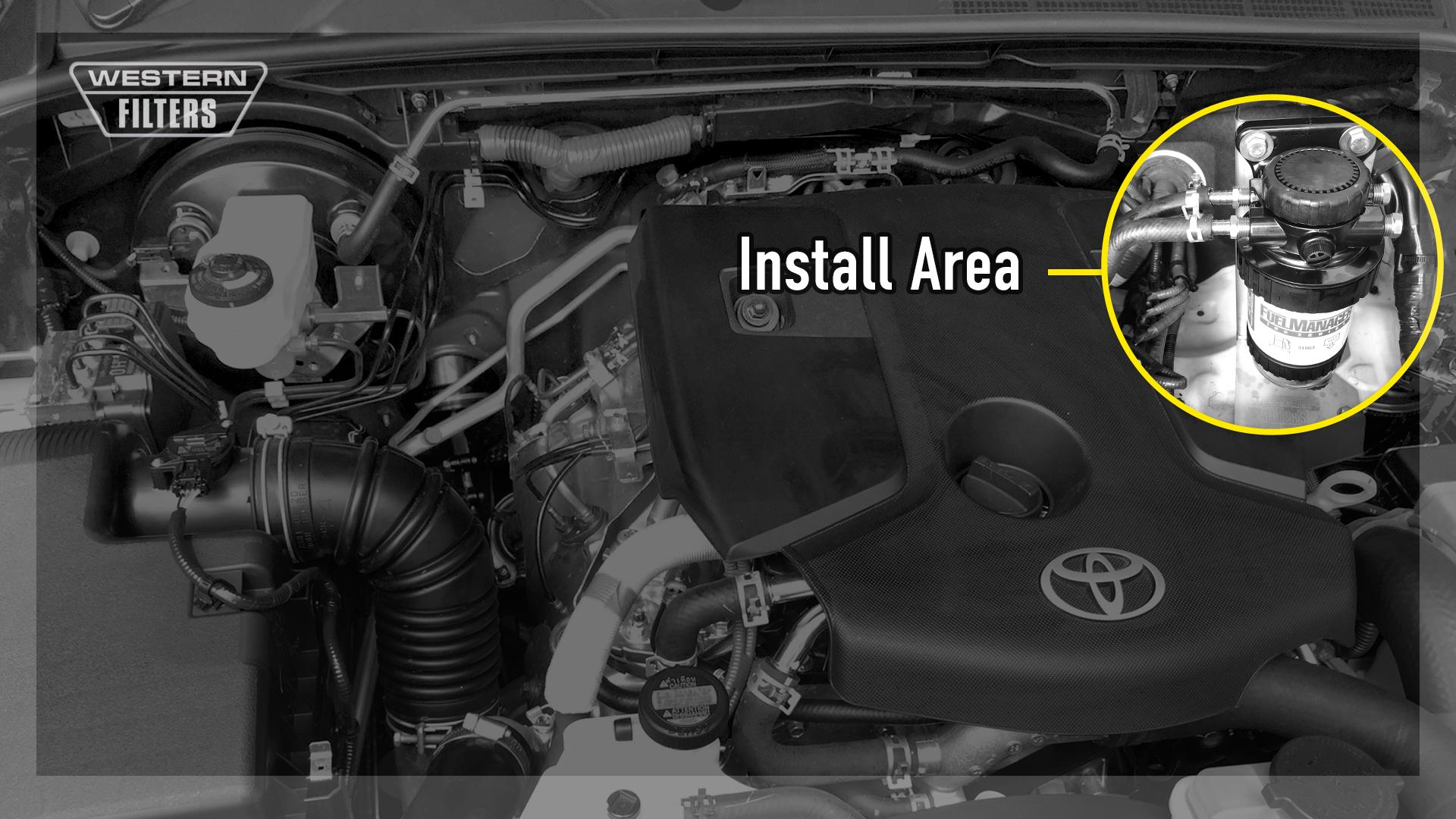 OS-12-FM Toyota Hilux / Fortuner N80 2 4L 2 8L Diesel GUN-126R EGR 1GD-FTV  2GD-FTV 2015-on - Fuel Manager Pre-Filter Water Separator Kit