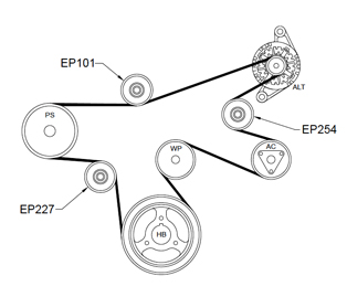 Jeep Wrangler JK 2.8Ltr Pulley diagram