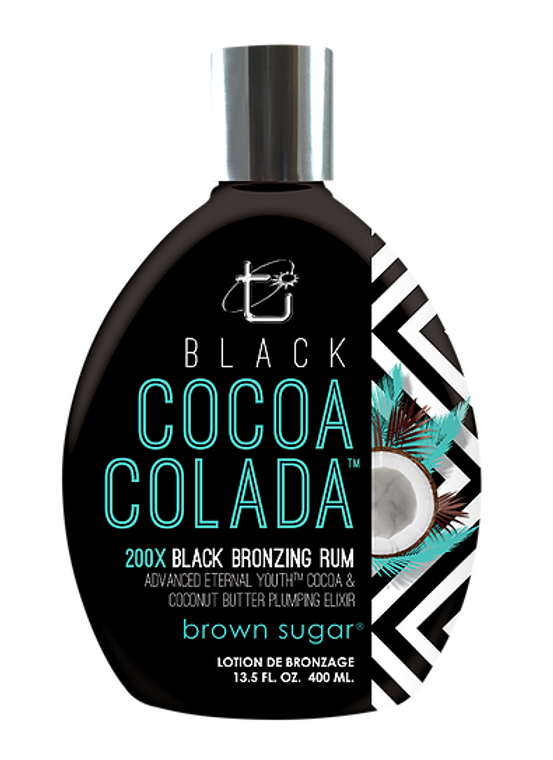 """BLACK COCOA COLADA It's all about being """"bikini-ready"""", and this ultra dark bronzing rum cocktail will have you flaunting your finest assets with complete confidence.   Dark, attention-grabbing color radiates with a youthful glow thanks to a potent plumping & skin firming.  Showing a little more skin is in!     • 200X Black Bronzers with rum extract elicit your darkest tan yet     • Eternal Youth™ skin firming with plumping tightens & tones for a firm    and fit that won't quit     • Cocoa & Coconut butters provide lush moisturizing for the optimal    tanning base     DHA-Free, Paraben-Free, Gluten-Free, No Animal Testing     VOLUME: 13.5 oz"""