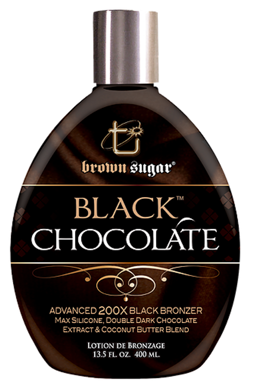 BLACK CHOCOLATE Crafted in small batches with the finest ingredients, this Advanced 200X Black Bronzer bestows skin with an extensive bronzing recipe for the deepest bronze imaginable. This breathtaking color is complemented with a decadent blend of organic butters, providing unparalleled feel and glow. Black Chocolate is a rare and exceptional tanning experience to not be missed.     • Advanced 200X Black Bronzers are carefully crafted for your darkest tan yet.   • Double dark chocolate extract nourishes skin with potent anti-oxidants.   • An ultra-rich butter & silicone blend melts into skin for a supple &    beautiful glow.   • Max Silicones for magically soft feel and application.     SCENT: Sensual Amber & Berries     DHA-Free, Paraben-Free     VOLUME: 13.5 oz