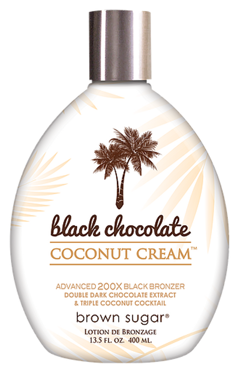 BLACK CHOCOLATE COCONUT Indulge in a creamier richness with a breathtaking bronze. 200X Black Bronzing with Double Dark Chocolate Extracts bestow skin with an astonishing darkness that demands attention. A triple coconut cocktail shows your skin some love with 3 times the amount of lush coconut conditioning for the creamy glow of a sun goddess.  Fresh off a vacation in the islands, or simply a trip to the salon? The perfect color in this bottle will always keep your admirers guessing.     • 200X Black Bronzers are artisan crafted for your darkest tan yet.    • Double Dark Chocolate Argan extracts nourish your tan with     potent antioxidants.    • Triple Coconut Cocktail & Max Silicones melt into skin for an astonishing      softness & glow.     SCENT: Cayman Coconut Milk & Pomegrante     DHA-Free, Paraben-Free     VOLUME: 13.5 oz