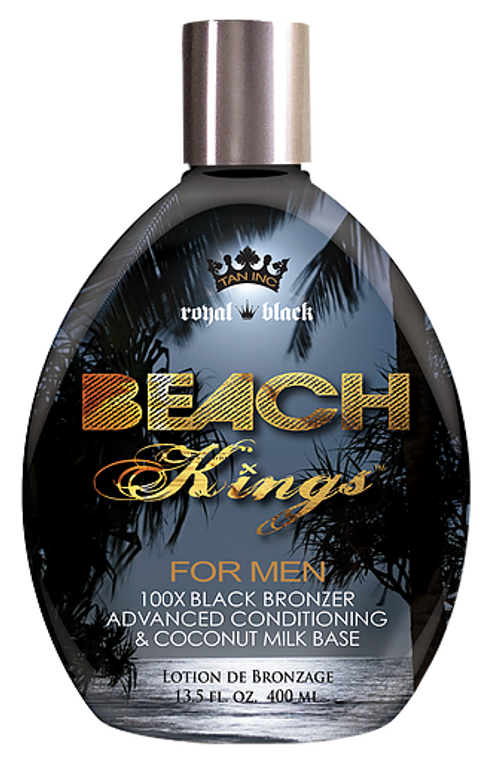 Beach Kings™ Join this movement- it's about a way of life that makes the most out of the here-and-now.  Whether it's carving waves every day or staying out every night, make sure you look the part.  This 100X Black Bronzer for men utilizes ultra-dark tanning ingredients for the optimum shade of bronze.  Additionally, your lifestyle doesn't leave time to take care of your skin the way you should, but that's no problem.  This formula has advanced skin conditioning built into a coconut milk base to treat your skin the way you would if you could.  • 100X Royal Black Bronzers for perfect, dark results. • Advanced skin conditioning in a coconut milk base, because your skin needs it. • Maximum Silicone Complex • Tattoo Enhancing Complex, so your ink looks fresh and bright. • DHA-Free, Paraben-Free, No Animal Testing Fragrance: Citrus-Vanilla with Tonka Bean