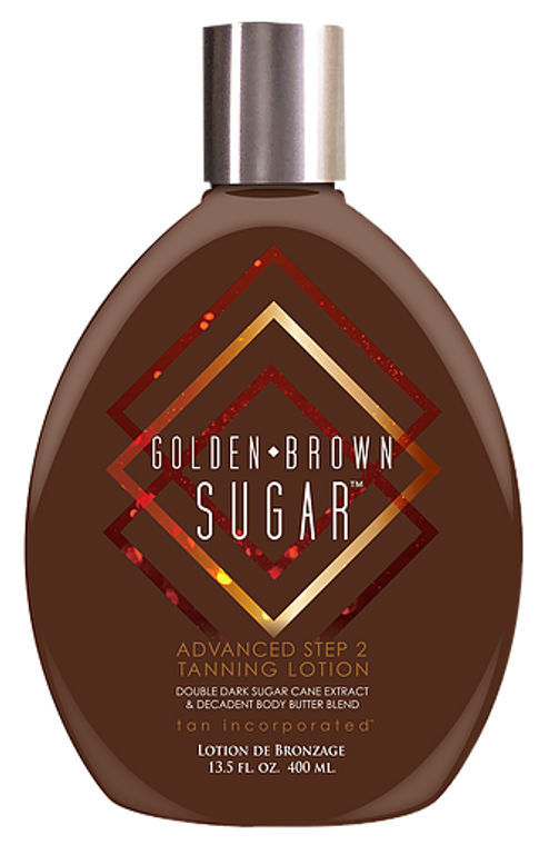 Golden Brown Sugar™ It's the name that's synonymous with deep, dark, tans- Brown Sugar.  This Advanced Step 2 lotion takes the sweetest ingredients and lovingly crafts the perfect recipe for your finest tanning experience.  Double Dark Sugar Cane Extract is blended with an exclusive Brown Sugar tanning Complex for color that every beginning tanner craves, and every advanced tanner demands.  When you tan always insist upon the best- request Golden Brown Sugar.  • An advanced Step 2 recipe combines an exclusive blend of ultra dark tanning ingredients for optimum color. • Decadent body butters condition skin for softness and an attractive glow. • Argan Oil of Morocco provides fantastic anti-aging & antioxidant properties. • Paraben-Free, DHA-Free, No Animal Testing Fragrance: Golden Orange Crème