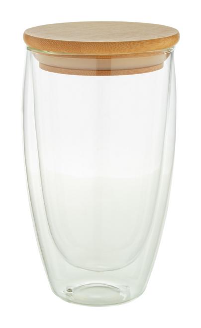Cană termică din sticlă borosilicată cu perete dublu, cu capac din bambus, 450 ml