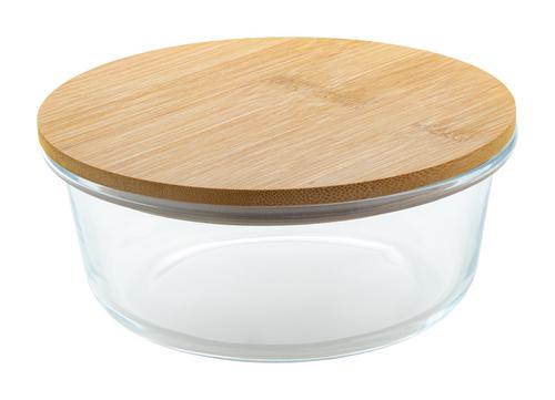 Casoleta pentru pranz din sticla, cu capac din bambus natural, 650 ml