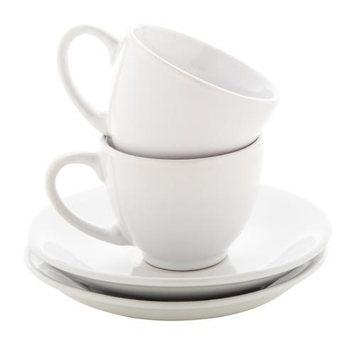 Mocca, set espresso cu 2 cesti din ceramica cu farfurii, cu posibilitate de personalizare corporate