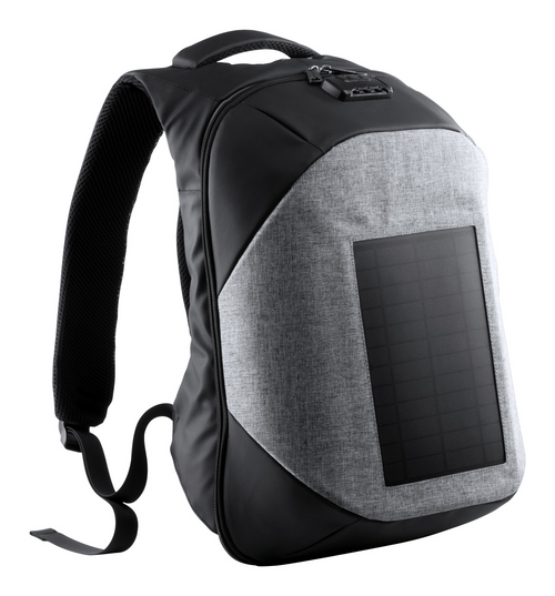 Backpack with integrated solar power panel in resistant 1200D polyester. | GoodieBags
