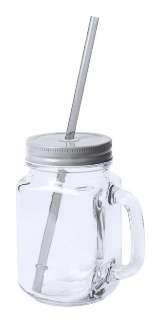 Heisond, pahar tip borcan din sticla, cu capac metalic colorat, paie din plastic si cu posibilitate de personalizare corporate