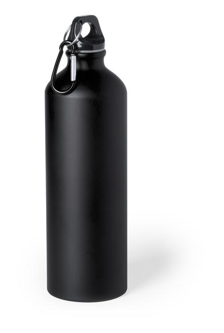 Delby, sticla sport din aluminiu, cu capac negru, carabina color asortata si cu posibilitate de personalizare corporate