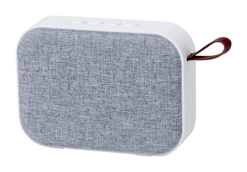 Bluetooth speaker with hands-free call function, micro SD reader and FM radio. With plastic housing, polyester speaker cloth and rechargeable battery. Including USB charger cable.