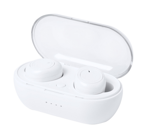 Wireless Bluetooth earphones with hands-free call function in plastic charger case. Including USB charger cable.   GoodieBags