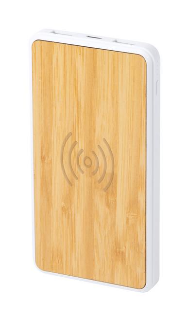 Power bank din bambus cu baterie de 8000 mAh si încărcător wireless încorporat personalizat b2b
