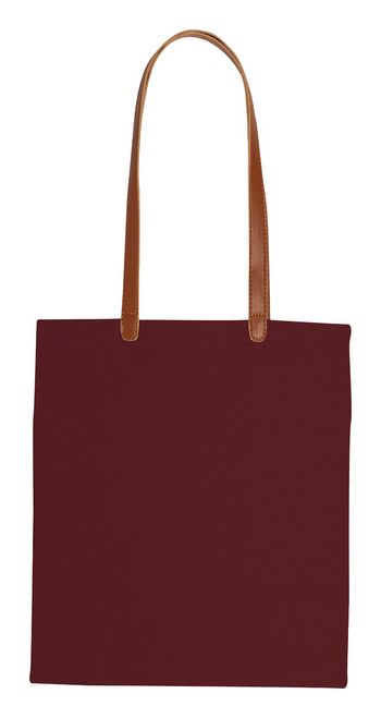 Cotton shopping bag with long PU leather handles. 100% cotton, 200 g/m² | GoodieBags