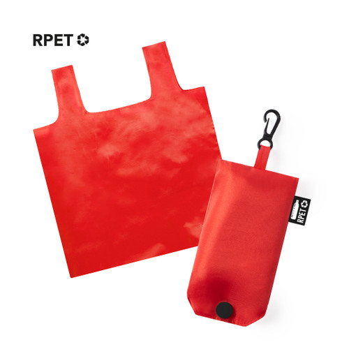 Red Foldable shopping bag from recycled PET, RPET | GoodieBags