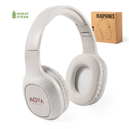 Ecological wheat straw plastic Bluetooth® 5.0 connectivity headphones with PU leather ear pads   GoodieBags