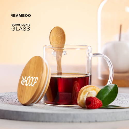 Kipal, cana de sticla borosilicata cu capacitate de 420 ml si cu posibilitate de personalizare corporate