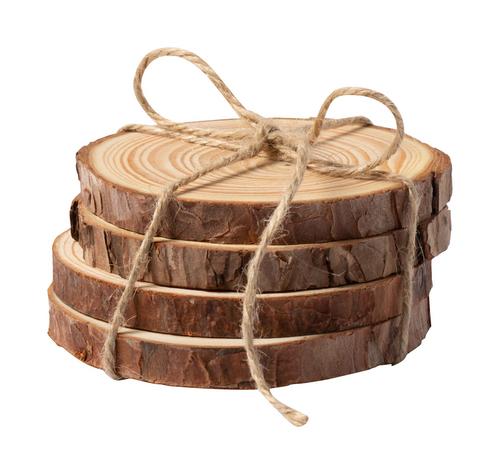 Yantic, set 4 suporturi pahare din discuri de lemn de pin natural, cu posibilitate de personalizare corporate