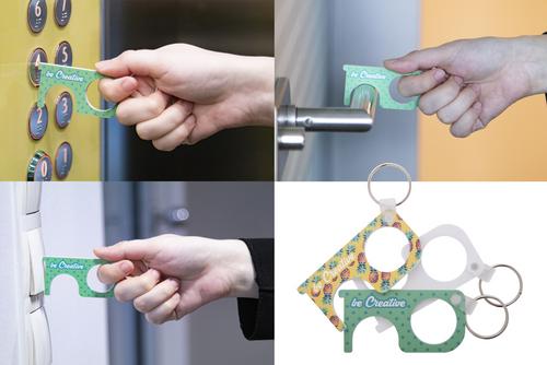 NoTouch Creative, breloc igienic din acrilic, folosit pentru apasare butoane si acces usi, cu posibilitate de personalizare corporate