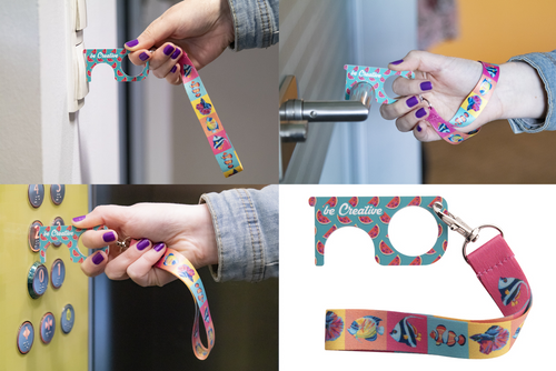 NoTouch Wrist Plus, breloc igienic dedicat apasarii butoanelor si deschiderii usii fara contact direct, cu posibilitate de personalizare corporate
