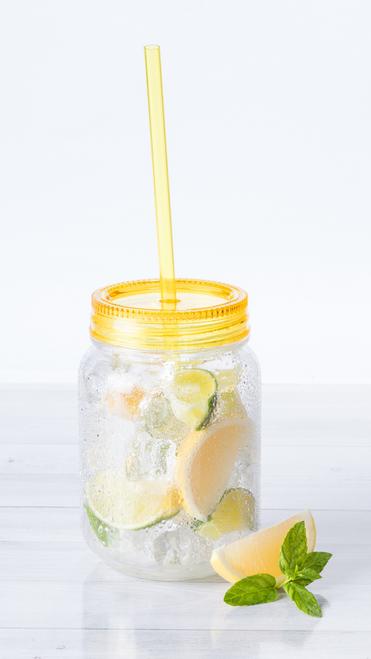 Sirex, pahar tip borcan din plastic transparent, cu capacitate de 600 ml si cu posibilitate de personalizare corporate