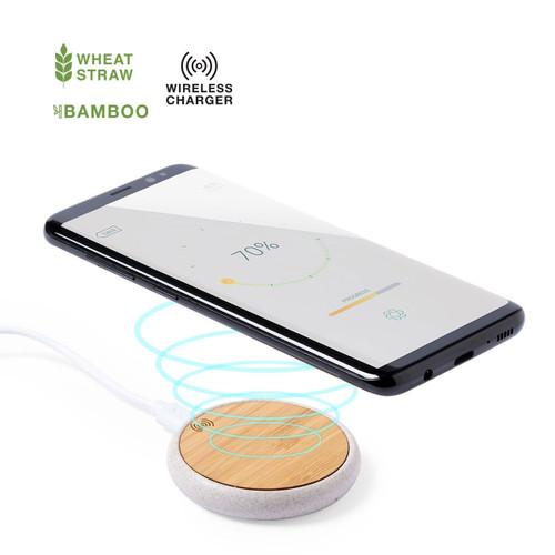 incarcator wireless rodund din bambus personalizat