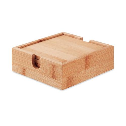 Mendi, set de 4 suporturi de pahar confectionate din bambus, intr-un suport de bambus cu posibilitate de personalizare corporate.
